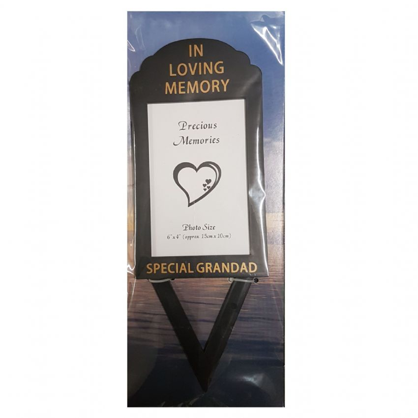 Special Grandad In Loving Memory - Photo Frame Holder Memorial Grave Spike By David Fischhoff